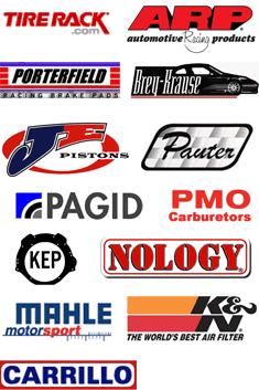 Tire Rack, Automotive Racing Produts, Porterfield, Brey-Krause, JE Pistons, Pauter, Pagid, PMO Carburetors, KEP, Nology, Mahle moter sport, K&N, Carrillo
